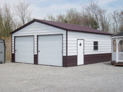 Metal Garage | Vertical Roof | 22W x 26L x 9H |  2-Car Garage