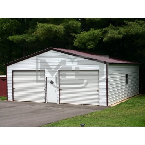 2-Vehicle Metal Garage | Vertical Roof | 24W x 36L x 9H | Enclosed