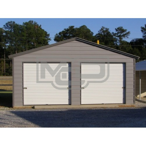 Enclosed Steel Garage | Vertical Roof | 20W x 21L x 9H | 2-Car