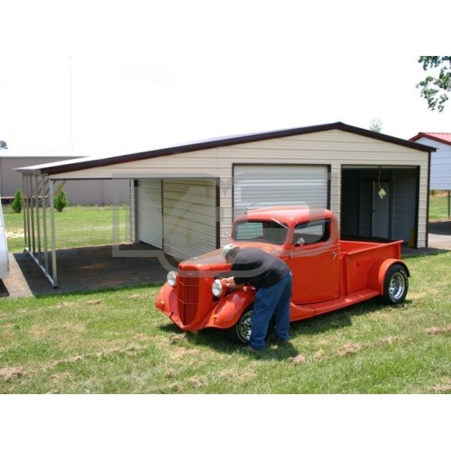 Enclosed Garage with Lean-to | Vertical Roof | 20W x 26L x 10H | Metal Garage