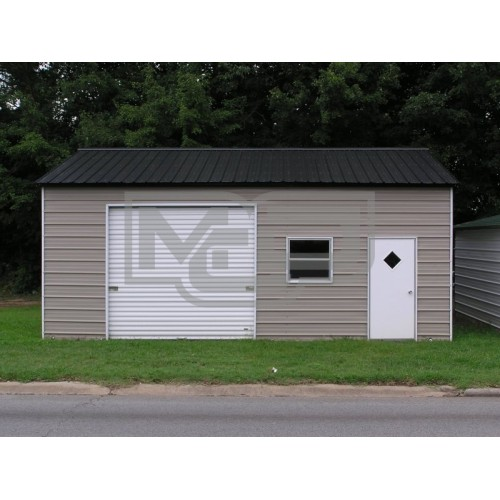 Enclosed Garage | Vertical Roof | 22W x 26L x 9H | Side Entry