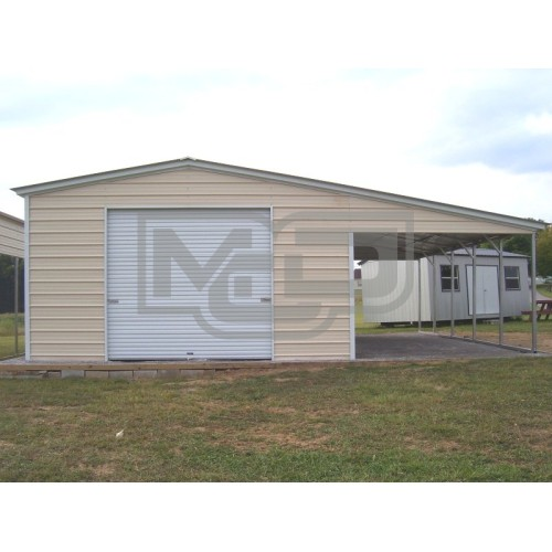Metal Garage with Lean-to | Vertical Roof | 40W x 26L x 10H/7H | 2-Car