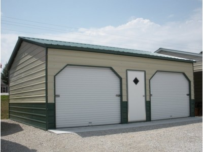 Side Entry Metal Garage | Vertical Roof | 22W x 26L x 9H | 2-Car
