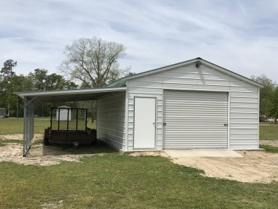 Metal Garage with Lean-to   Vertical Roof   18W x 26L x 9H   1-Car