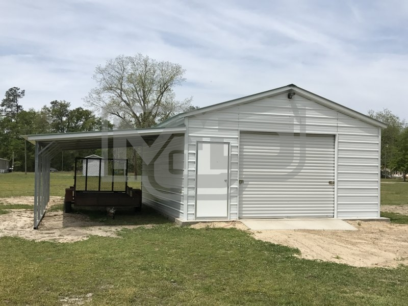 Metal Garage with Lean-to | Vertical Roof | 18W x 26L x 9H | 1-Car