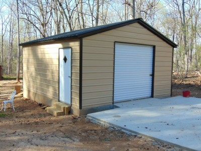 Backyard Storage Garage | Vertical Roof | 20W x 21L x 7 | Metal Garage