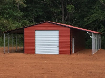 Metal Garage with Lean-tos | Vertical Roof | 24W x 51L x 11H | Metal Shed