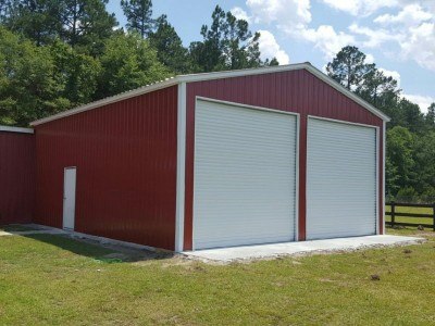 All Vertical Enclosed Garage | Vertical Roof | 24W x 36L x 12H |  Workshop