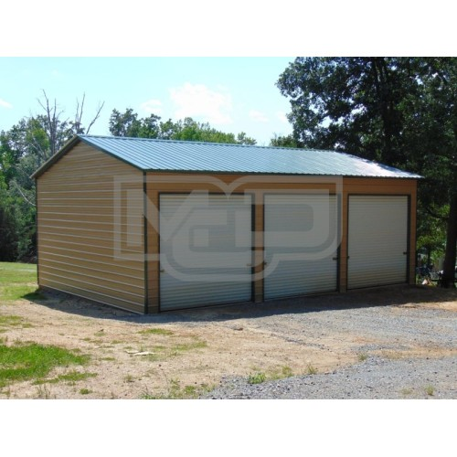 Metal Garage Structure | Vertical Roof | 24W x 36L x 12H | Steel Garage