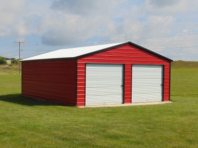 2-Car Metal Garage | Vertical Roof | 22W x 31L x 9H | Two-Car