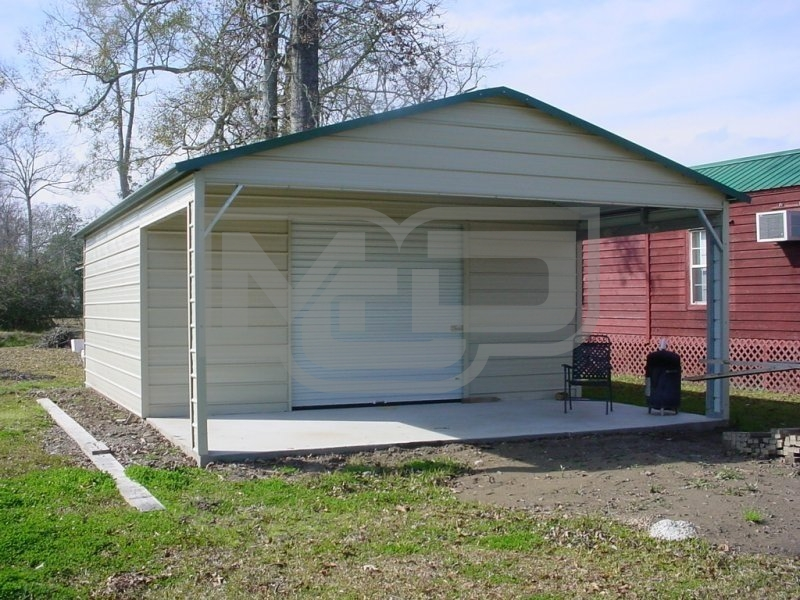 Garage | Boxed Eave Roof | 20W x 26L x 8H |  Metal Garage with Porch