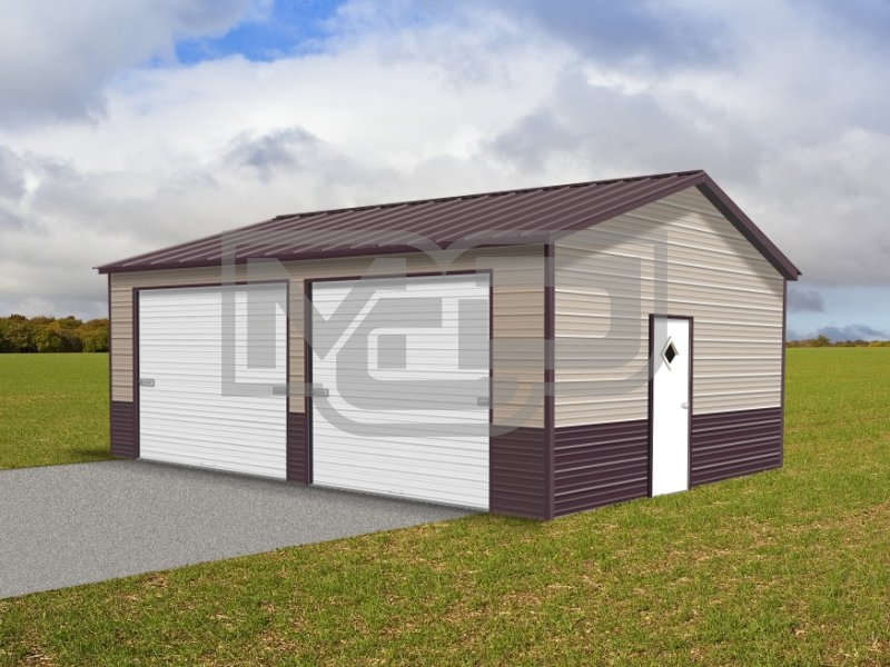 Metal Garage | Vertical Roof | 22W x 26L x 9H | Side Entry
