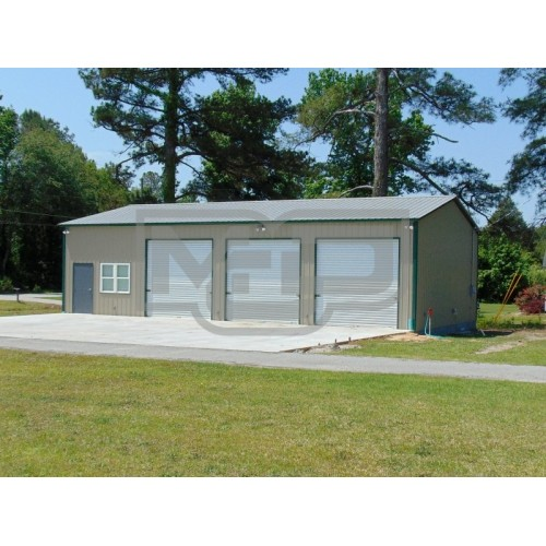 Steel Garage Workshop | Vertical Roof | 30W x 61L x 12H | Certified