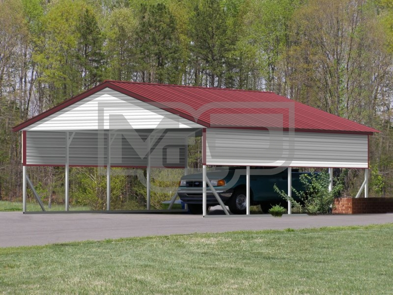 Carport | Vertical Roof | 20W x 21L x 8H | 2 Gables | 2 Panels