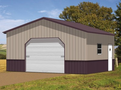 Deluxe Metal Garage | Vertical Roof | 20W x 21 x 8H |  1-Car Garage