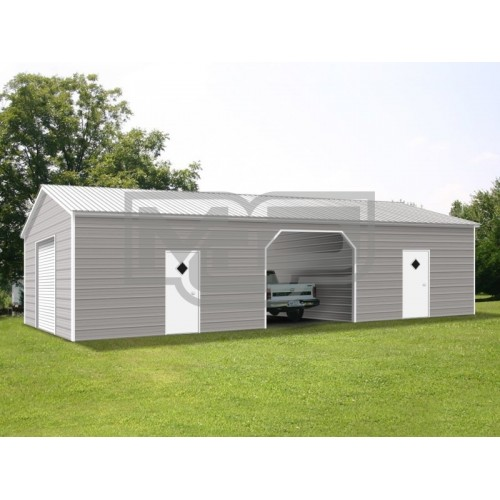 Enclosed Steel Building | Vertical Roof | 24W x 51L x 9H | Metal Garage