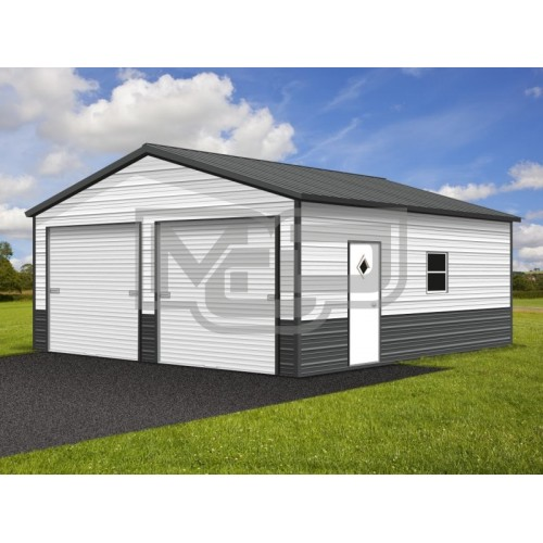 2-Car Enclosed Garage | Vertical Roof | 22W x 26L x 9H