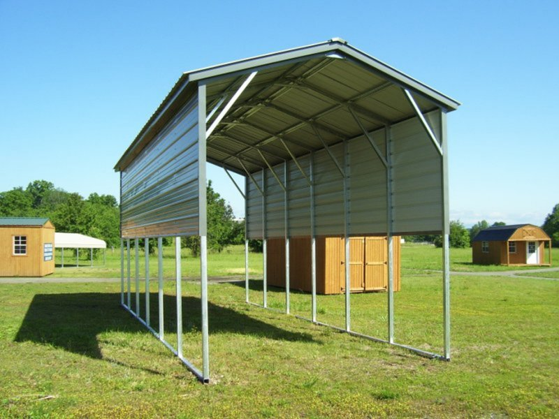 Metal Garages And Shelters : Carport vertical roof w l h metal rv