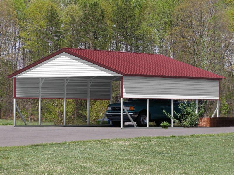 Carport Vertical Roof 20w X 21l X 8h 2 Gables 2 Panels
