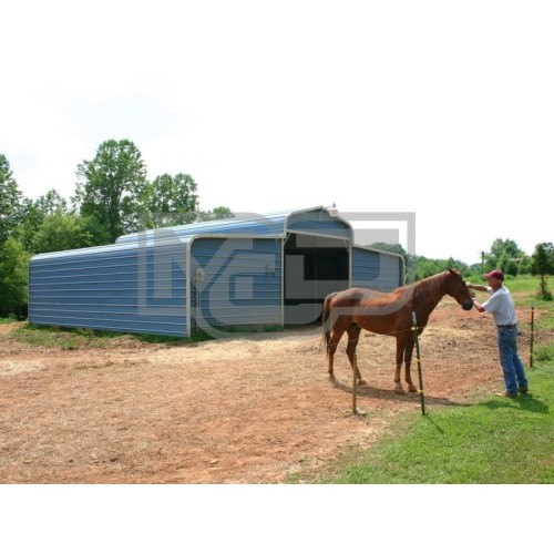 Metal Horse Barn | Regular Roof | 36W x 26L x 9H | Shelter