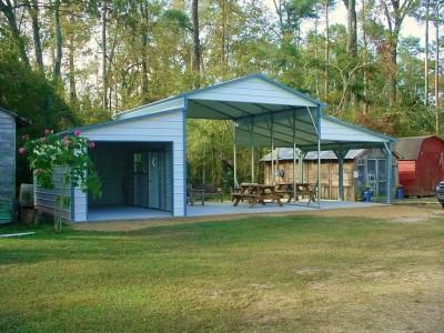 Metal Carolina Barn | Boxed Eave Roof | 42W x 21L x 12H | Raised Center Aisle