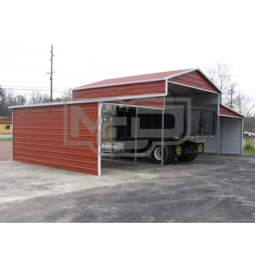 Metal Barn | Boxed Eave Roof | 42W x 21L x 12H | Raised Center