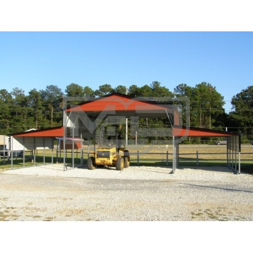 Metal Carolina Barn | Boxed Eave Roof | 46W x 21L x 12H | Barn Shelter