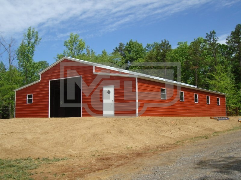 Raised Center Aisle Barn | Vertical Roof | 44W x 41L x 12H | Enclosed Barn