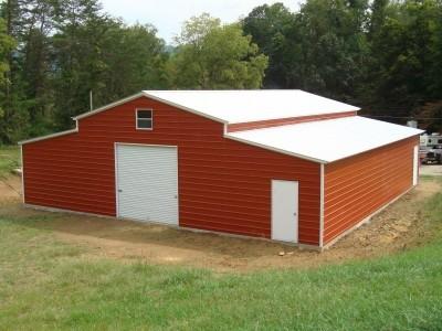 Enclosed Carolina Style Barn | Vertical Roof | 44W x 36L x 12H | Metal Barn