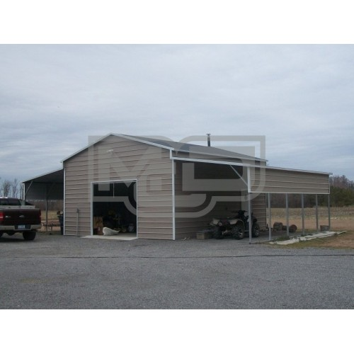 Enclosed Metal Barn | Boxed Eave Roof | 48W x 26L x 12H | Barn Building