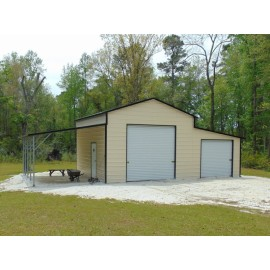 Enclosed Steel Barn | Boxed Eave Roof | 42W x 21L x 12H | Raised Center Aisle