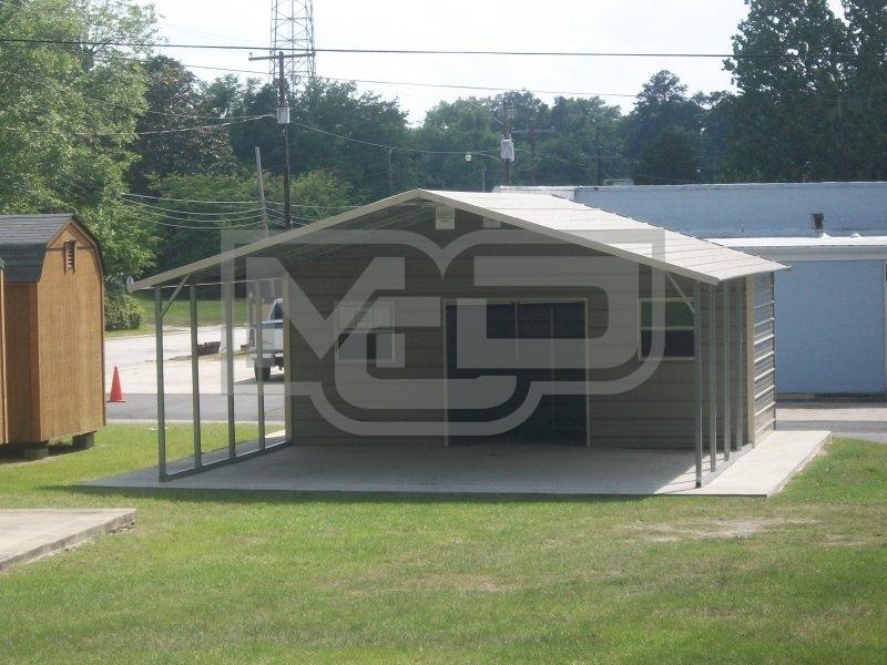 Carport Boxed Eave Roof 22w X 26l X 7h Utility Carport Combo