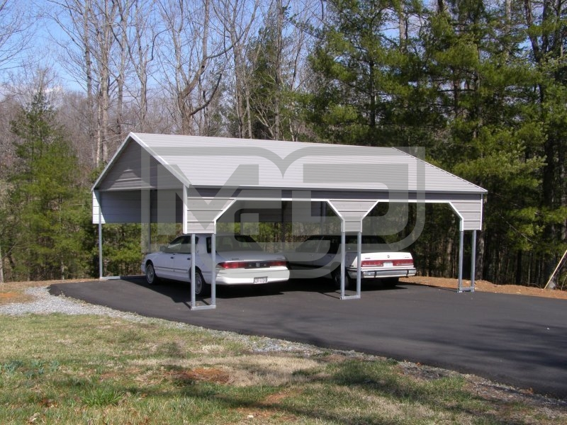 Carport boxed eave roof 22w x 26l x 8h 2 gables 2 for Carport shop combo