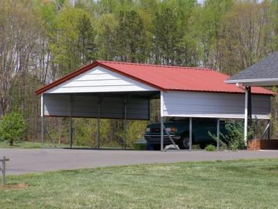 Carport   Vertical Roof   20W x 21L x 8H`   2 Gables   2 Panels