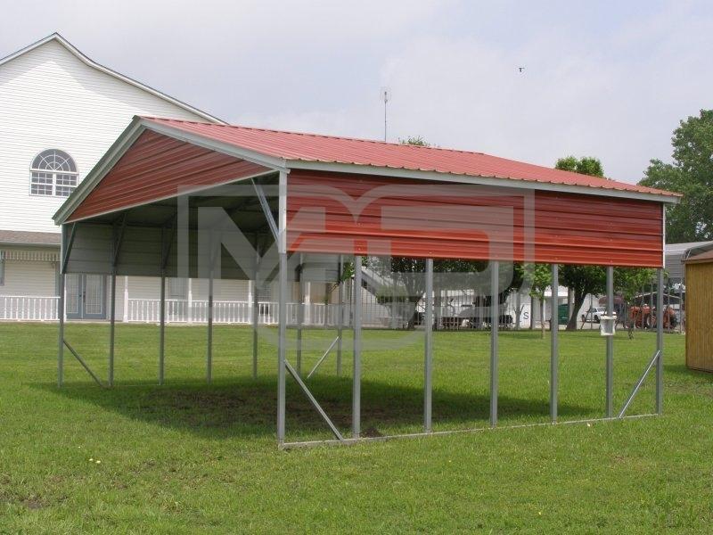 Carport Vertical Roof 26w X 21l X 10h Triple Wide
