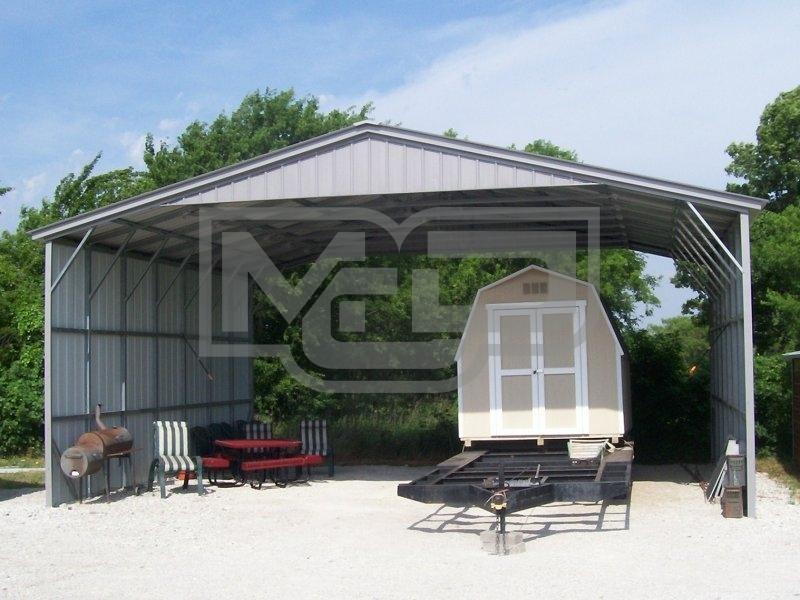 Carport Vertical Roof 30w X 26l X 12h Triple Wide