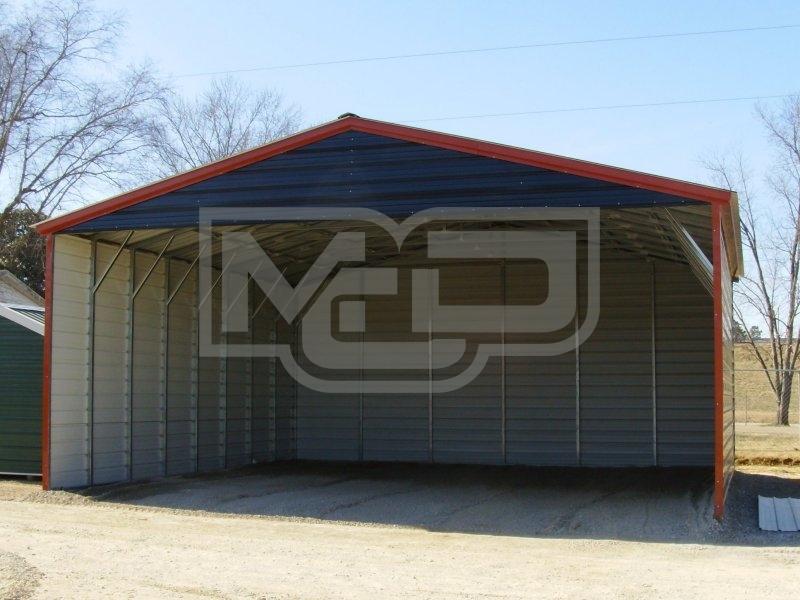 Carport Vertical Roof 30w X 31l X 12h Triple Wide
