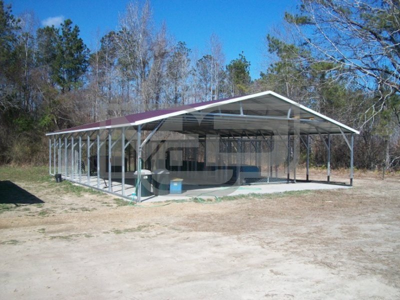 Carport vertical roof 30w x 41l x 6h triple wide for Carports with sides