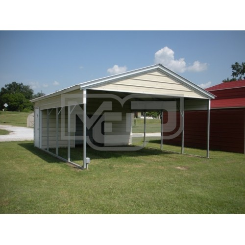 Vertical roof combo carports for Carport shed combo