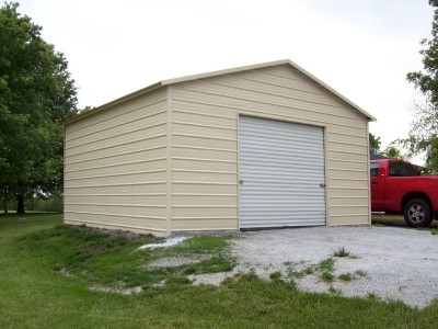 Garage | Boxed Eave Roof | 18W x 21L x 9H | 1-Car Steel Garage