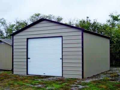 Garage | Boxed Eave Roof | 18W x 26L x 9H |  1-Car Metal Garage