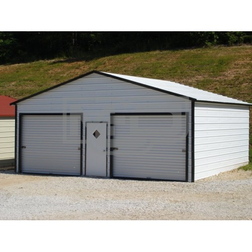 Garage | Boxed Eave Roof | 21W x 21L x 9H |  2-Car Metal Garage