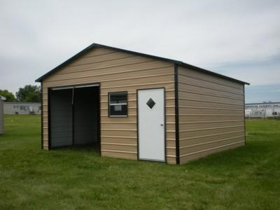 Garage   Boxed Eave Roof   18W x 21L x 8H    Metal Storage Building