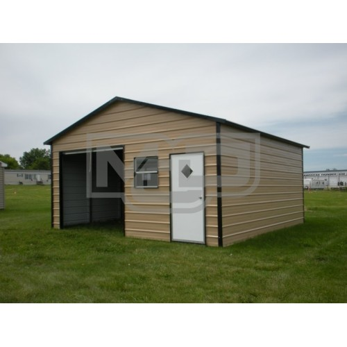Garage | Boxed Eave Roof | 18W x 21L x 8H |  Metal Storage Building