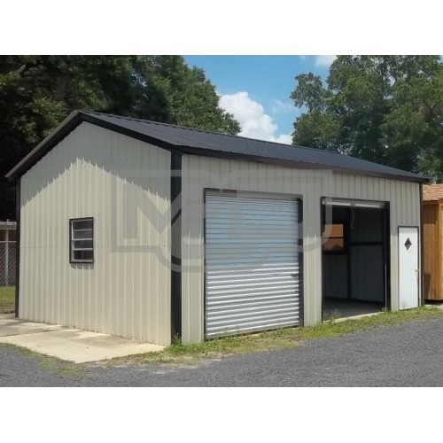 All Steel Garage | Vertical Roof | 20W x 26L x 10H |  Side Entry