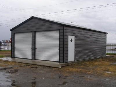 Garage | Vertical Roof | 22W x 26L x 9H | 2-Car Steel Garage