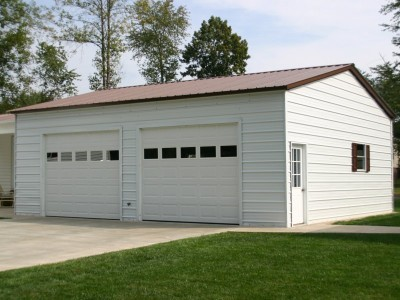 Metal Garage | Vertical Roof | 24W x 31L x 10H |  2-Car