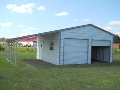 Metal Garage | Vertical Roof | 22W x 26L x 10H |  Lean-to