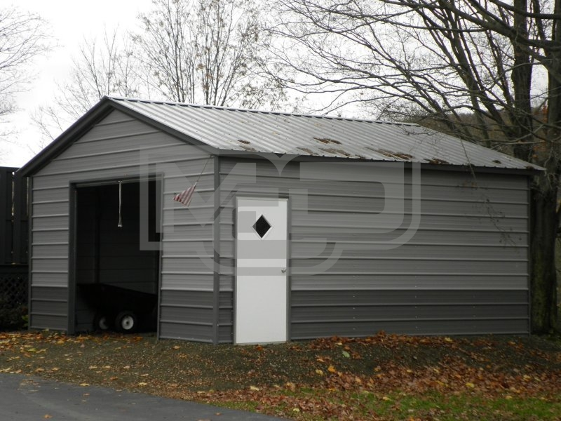 Backyard Storage Garage | Vertical Roof | 18W x 21L x 8H |  Metal Storage