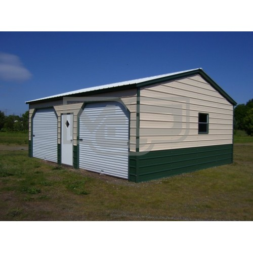 Side Entry Metal Garage | Vertical Roof | 22W x 26L x 9H | 2-Cars